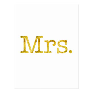 Mrs Gold Faux Glitter Metallic Inspirational Quote Postcard