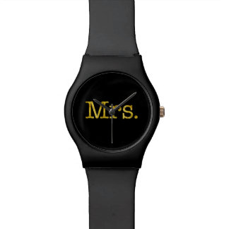 Mrs Gold Faux Glitter Metallic Inspirational Quote Watch
