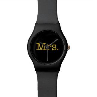 Mrs Gold Faux Glitter Metallic Inspirational Quote Wristwatch