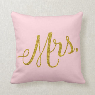 Mrs. Gold Faux Glitter Metallic Sequins Quote Pink Cushion