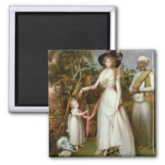 Mrs Graham of Kinross, her Daughter and a Jamadar, Square Magnet