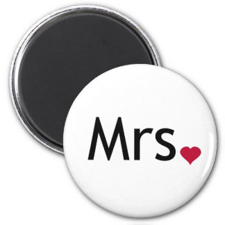 Mrs  - half of Mr and Mrs set 6 Cm Round Magnet