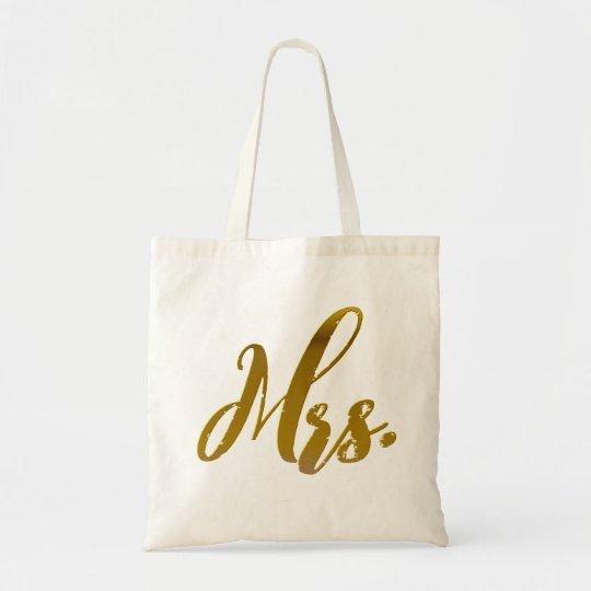 Mrs in Gold Foil Wedding Tote Bag