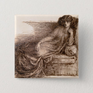 Mrs. Jane Morris Reclining on a Sofa 15 Cm Square Badge