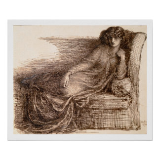 Mrs. Jane Morris Reclining on a Sofa Poster