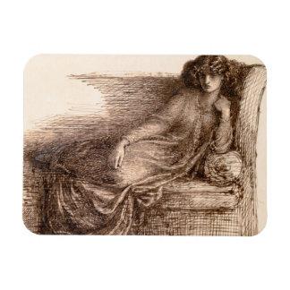 Mrs Jane Morris Reclining on a Sofa Rectangular Magnet