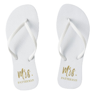 Mrs. Last Name Flip Flops with Gold Foil