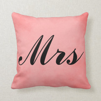 Mrs. Lovely Pink Parchment Mr and Mrs Cushion
