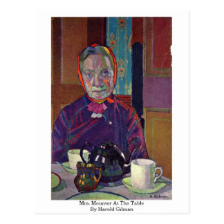 Mrs. Mounter At The Table By Harold Gilman Postcard