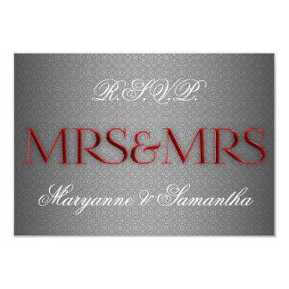 Mrs & Mrs Gay Lesbian Wedding RSVP in Silver Card