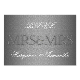 Mrs Mrs Gay Lesbian Wedding RSVP in Silver Invitations