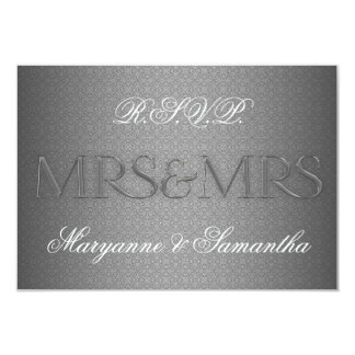 Mrs & Mrs Gay Lesbian Wedding RSVP in Silver 3.5x5 Paper Invitation Card