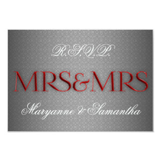 """Mrs & Mrs Gay Lesbian Wedding RSVP in Silver 3.5"""" X 5"""" Invitation Card"""