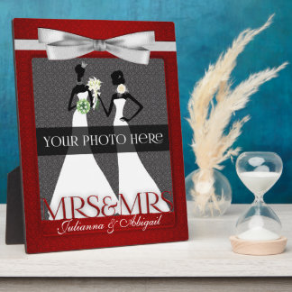 Mrs & Mrs Lesbian Gay Wedding Photo Frame in Red