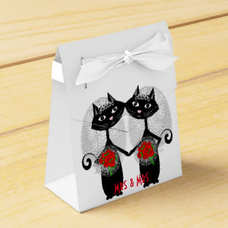 Mrs + Mrs Lesbian Marriage Cat Cute Brides Wedding Favour Box