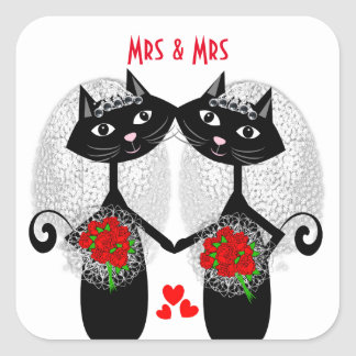 Mrs + Mrs Lesbian Marriage Cat Cute Brides Wedding Square Sticker