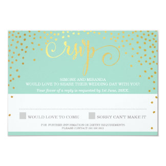 MRS & MRS RSVP REPLY rustic gold confetti mint Card