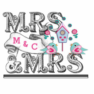 Mrs & Mrs Sign With Love Birds Cake - Table Decor Standing Photo Sculpture