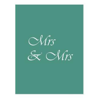 Mrs & Mrs Typography Postcard