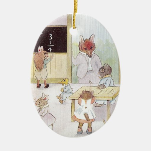 Mrs. Owl's School Visited by Fox Vintage Double-Sided Oval Ceramic Christmas Ornament