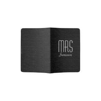 """Mrs"" Passport Holder, Black Faux Textured Passport Holder"