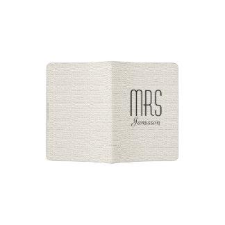 """""""Mrs"""" Passport Holder, Off White Faux Textured"""