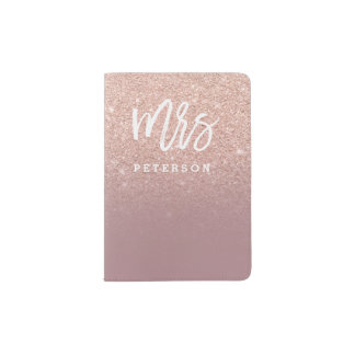 Mrs passport  rose gold glitter dusty rose passport holder