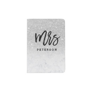 Mrs passport silver typography white marble passport holder