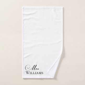 Mrs Personalised Name White Black Hand Towel