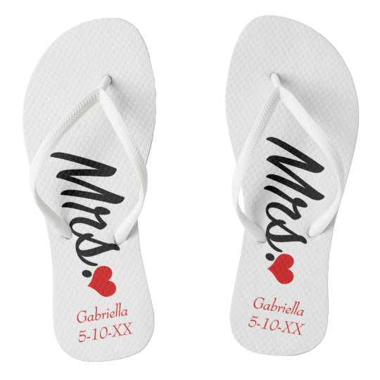 Mrs. Personalised With Name & Date Flip Flops