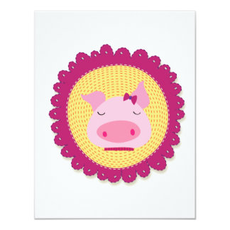 """Mrs Piggy 4.25"""" X 5.5"""" Invitation Card"""
