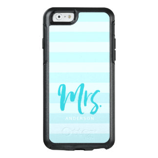 Mrs Preppy Blue Stripes Personalize with Name OtterBox iPhone 6/6s Case