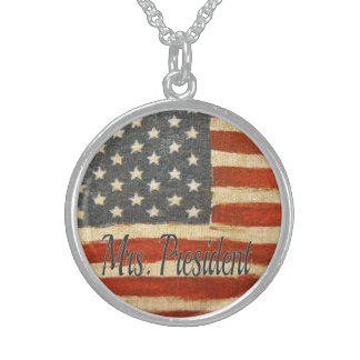 mrs president   Vintage Flag circle.jpg Round Pendant Necklace