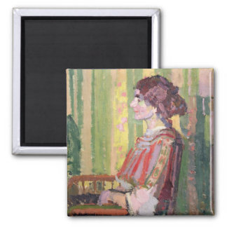 Mrs Robert Bevan, c.1913 (oil on canvas) Square Magnet