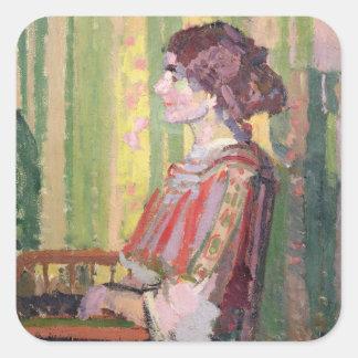 Mrs Robert Bevan, c.1913 (oil on canvas) Square Sticker