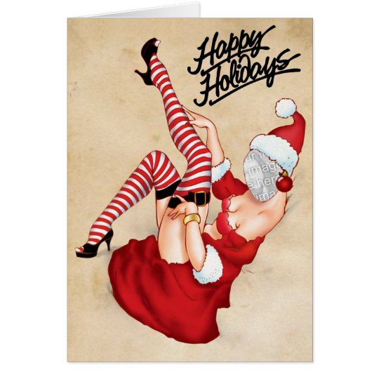 Mrs. Santa Pin Up Greeting Card