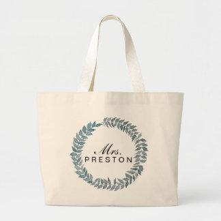 Mrs. Steel Blue Vine | Watercolor Wreath Jumbo Tote Bag