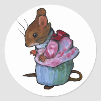 Mrs. Tittlemouse, After Beatrix Potter: Oil Pastel Classic Round Sticker