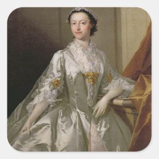 Mrs Wardle, 1742 (oil on canvas) Square Sticker