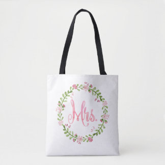 Mrs. Watercolor Wreath Bag