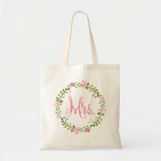Mrs. Watercolor Wreath Tote Bag