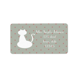 Mrs White Cat Cute Dots Address Label