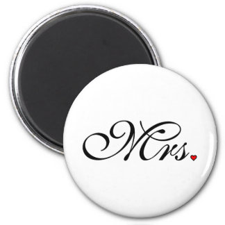 Mrs. Wife Bride His Her Newly Weds 2 Inch Round Magnet