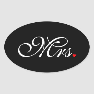 Mrs. Wife Bride His Hers Newly Weds Oval Sticker