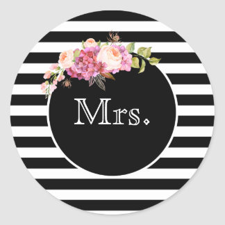 Mrs. with Black & White Stripes and Flowers Classic Round Sticker