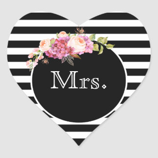 Mrs. with Black & White Stripes and Flowers Heart Sticker