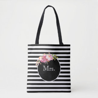 Mrs. with Black & White Stripes and Flowers Tote Bag