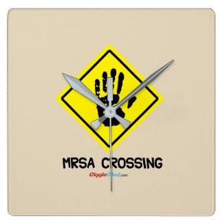 MRSA Crossing Sign Square Wall Clock