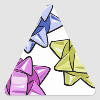 ms13 BLUE PURPLE YELLOW RIBBONS BOWS GIFTS PRESENT Triangle Stickers