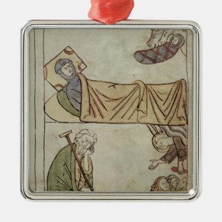 Ms 108 fol.168 The Nativity, from a Bible Silver-Colored Square Decoration